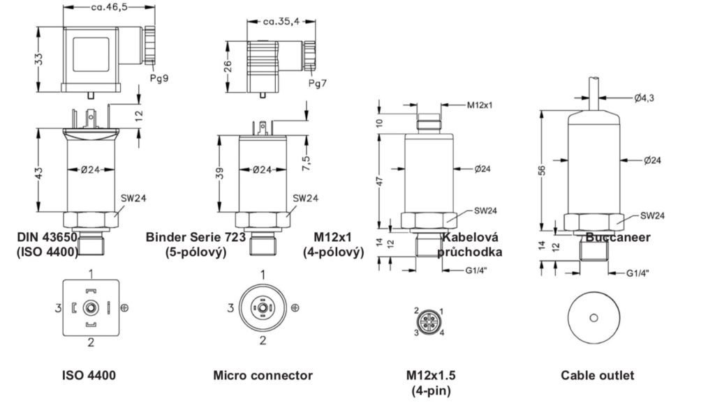 Kiểu nối ren của cảm biến 0-1bar