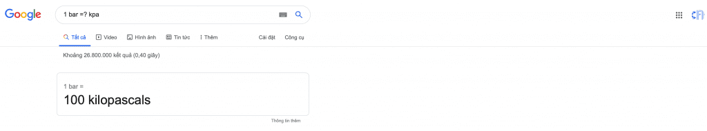 Chuyển Bar sang Kpa bằng google
