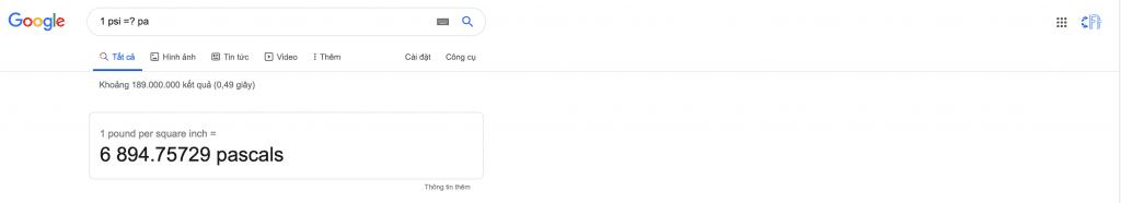 Chuyển Psi sang Pa bằng google