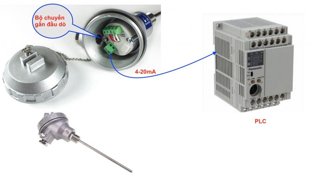Bộ chuyển tín hiệu Pt100 gắn đầu dò
