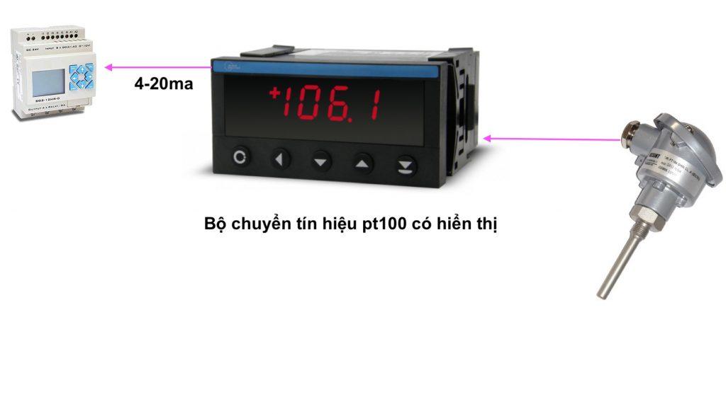 Bộ chuyển pt100 ra 4-20ma với màng hình hiển thị