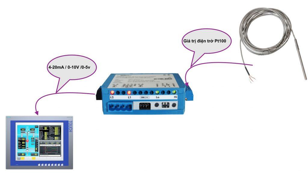 Bộ chuyển tín hiệu Pt100 ra 4-20mA