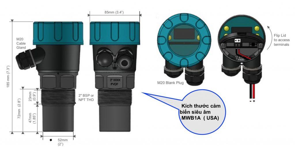 Kích thước cảm biến siêu âm MWB1A