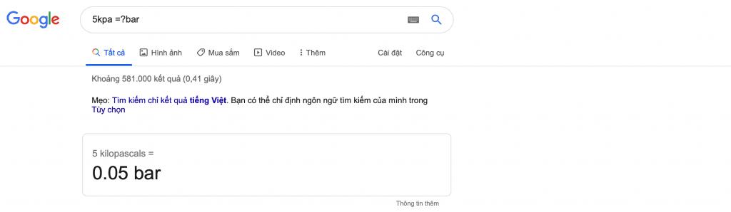 Kpa là gì ? cách dùng google để chuyển