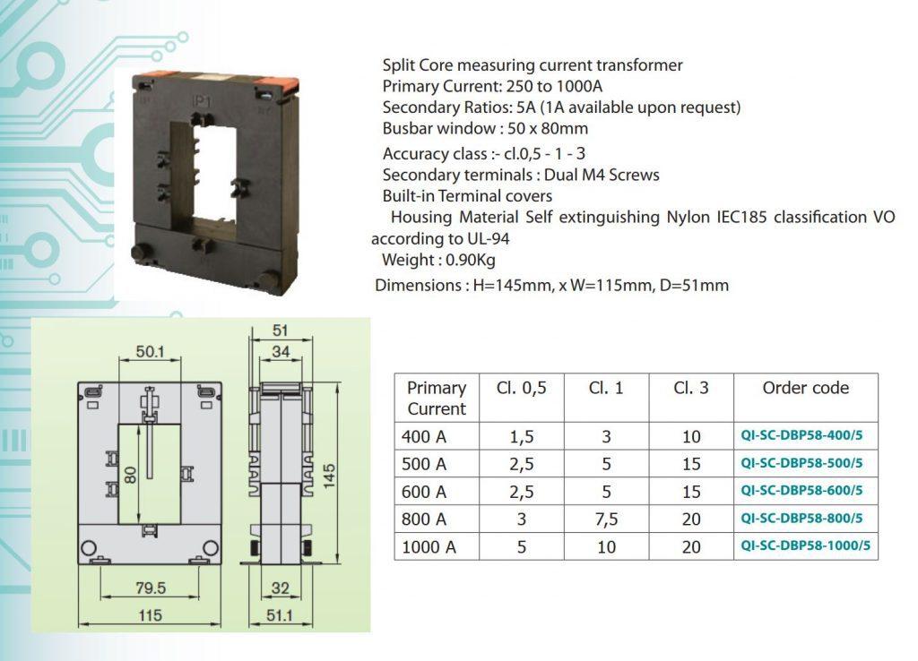 Thông số biến dòng QI-SC-DBP58-1000/5